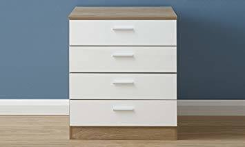 Home Source Chest of Drawers White Gloss Oak Bedroom Furniture