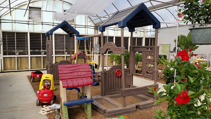 Several amenities are set up at White's Nursery & Garden Center to improve  the shopping experience, including a children's playground in the retail