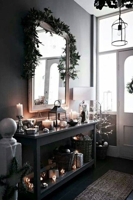 Diy Design Fanatic Christmas Decorating The Foyer Pretty Foyers Img Hall  Entrance Decoration Ideas Narrow Small Entryway Mirror Console With Storage  Wall