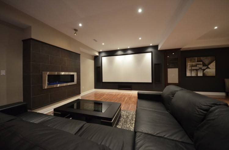 Great Modern Entertainment Room With Comfy Black Couch Combined Wall Units  Ideas