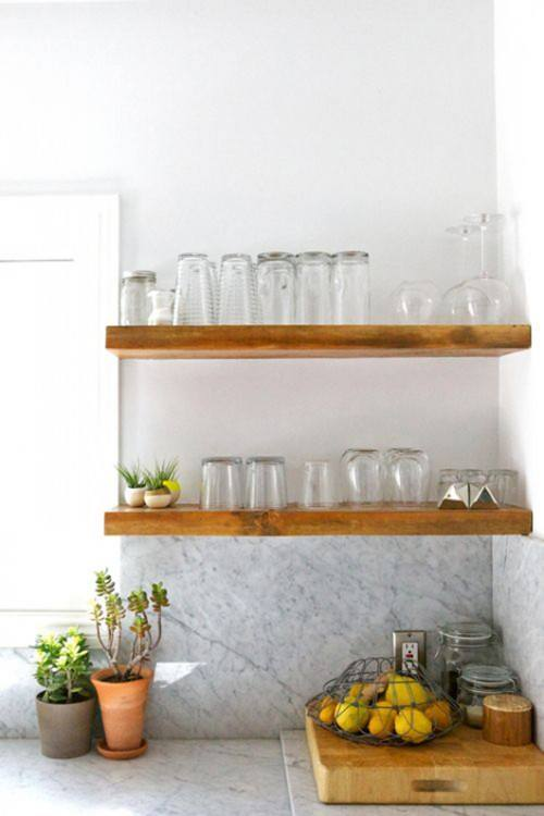 Infuse natural warmth into your open shelves