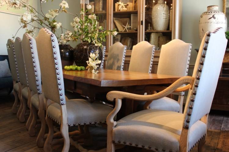 antique leather dining chairs large image