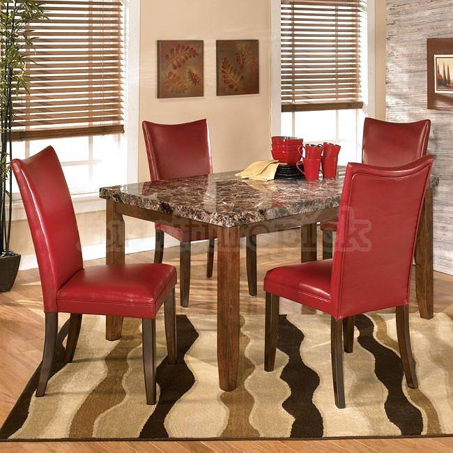 Black glasstop dining table with red