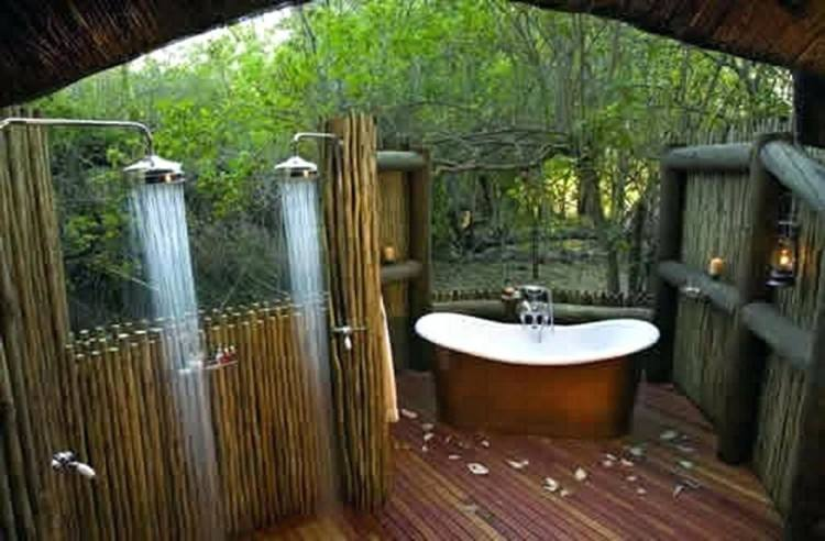 Tropical Bathroom Ideas With Unique Sink And Rocks Also Pool Small Island
