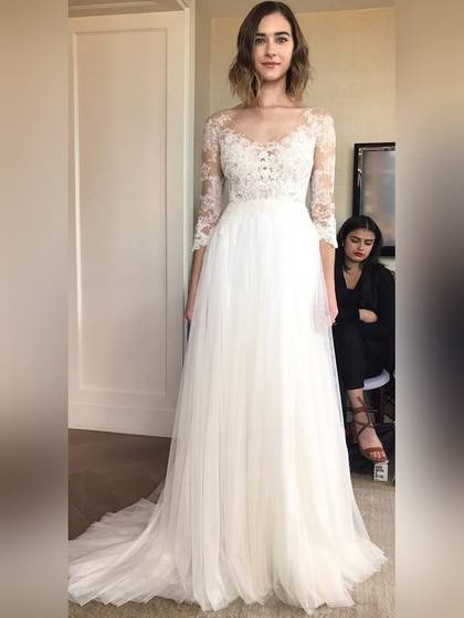Off Shoulder Lace Wedding Dresses 3/4 Long Sleeve Rhinestone Sash Knee  Length A Line Cheap Plus Size Bridal Gown Backless Wedding Dresses Lace Wedding  Dress