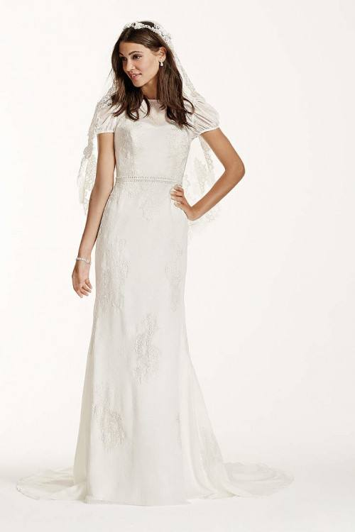 This is a sheath dress with a lace overlay