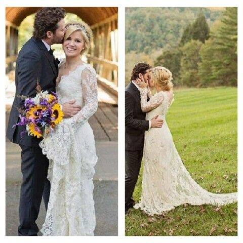 a kiss for my beau the pair shareda clinch during their big day at  blackberry · kelly clarkson wedding dress