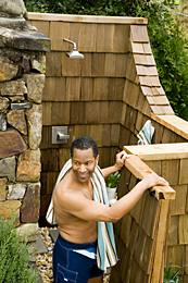 Pave your way around an outdoor shower with Pine Hall brick pavers