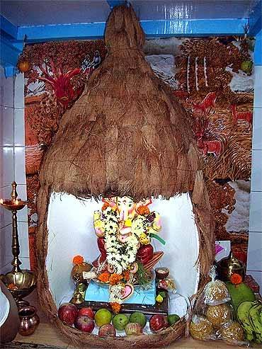 Simple Ganesh Pooja Decoration at Home
