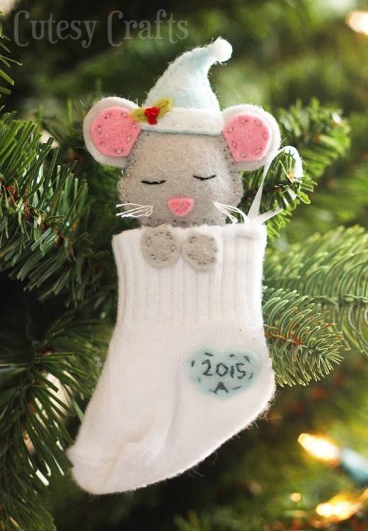 Baby Mouse Sock Stocking Ornament