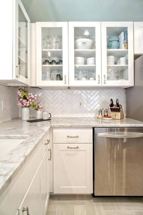 small kitchen backsplash small kitchen designed with white cabinets and  grey subway tile kitchen backsplash designs