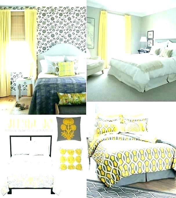 yellow grey and white bedroom