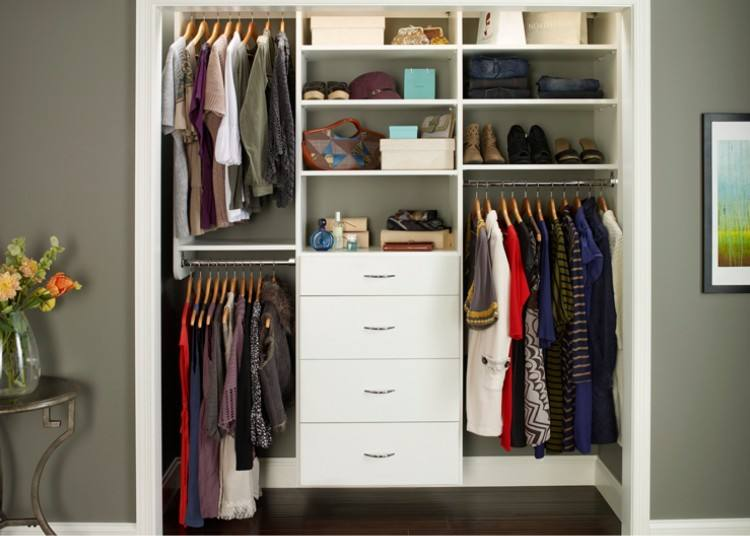 Eliminate Clutter A self built closet designed to be very organized with  clothes and compartments