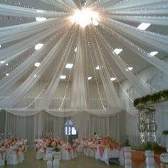 Tulle Ceiling Draping Wedding Reception Ceiling Decoration Ideas Would Be Gorgeous For Reception In Church Fellowship Hall Wedding Reception Ceiling