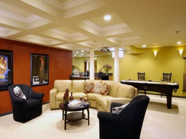 Basement Ideas In Entertainment Room Combined With Glossy Leather Sofas  And Curved Wooden Ceiling Also Yellow