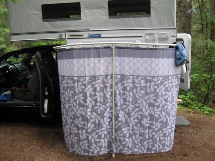 Outdoor shower enclosure for RV