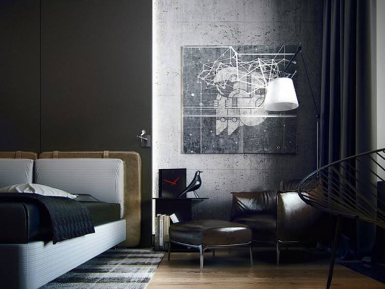 Gray is almost as good color choice idea as black one for a male bedroom