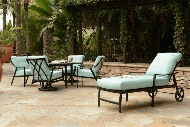 What's your backyard patio style? Go sleek and modern with black wire  furniture and outdoor throw pillows with pattern and texture