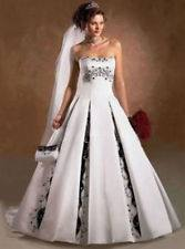 Black and White Wedding Gown with Sweetheart Neckline showing back of gown