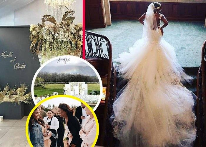 ABOVE: Love is in the air as an ecstatic Minnie Dlamini beams at her new  husband, Quinton Jones
