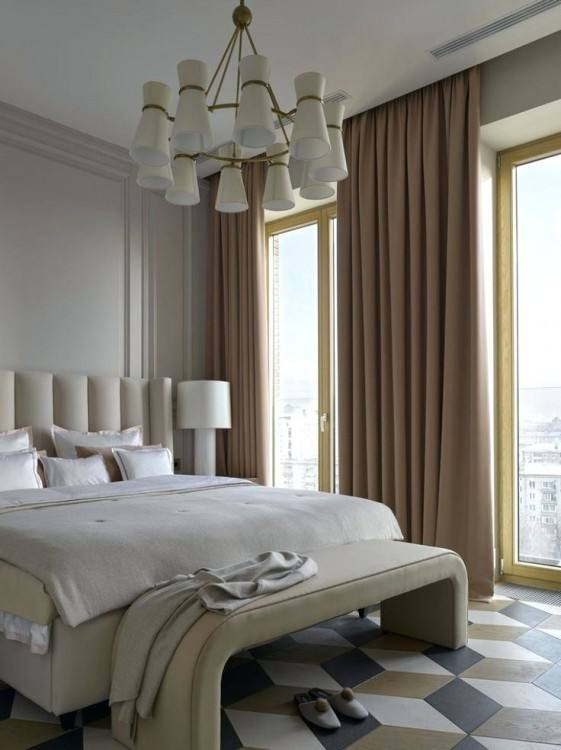Cream Curtains Modern Classic Bedrooms Designs With Double White Table Lamp On The White Desk On