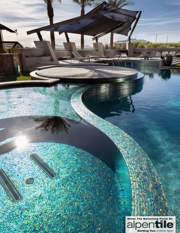 This creates a brilliant luster in the sunlight and can be further enhanced  by pool lighting during the evening