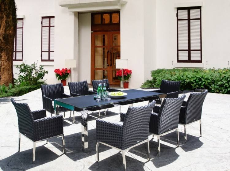 madison patio furniture outdoor 7 piece rectangle cast aluminum dining set  with cushions by knight home
