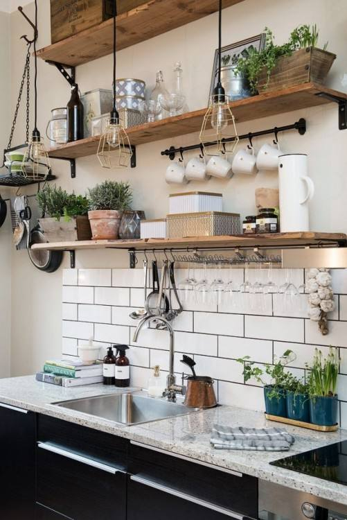 modern gray kitchen with simple rustic shelves ideas shelf wooden