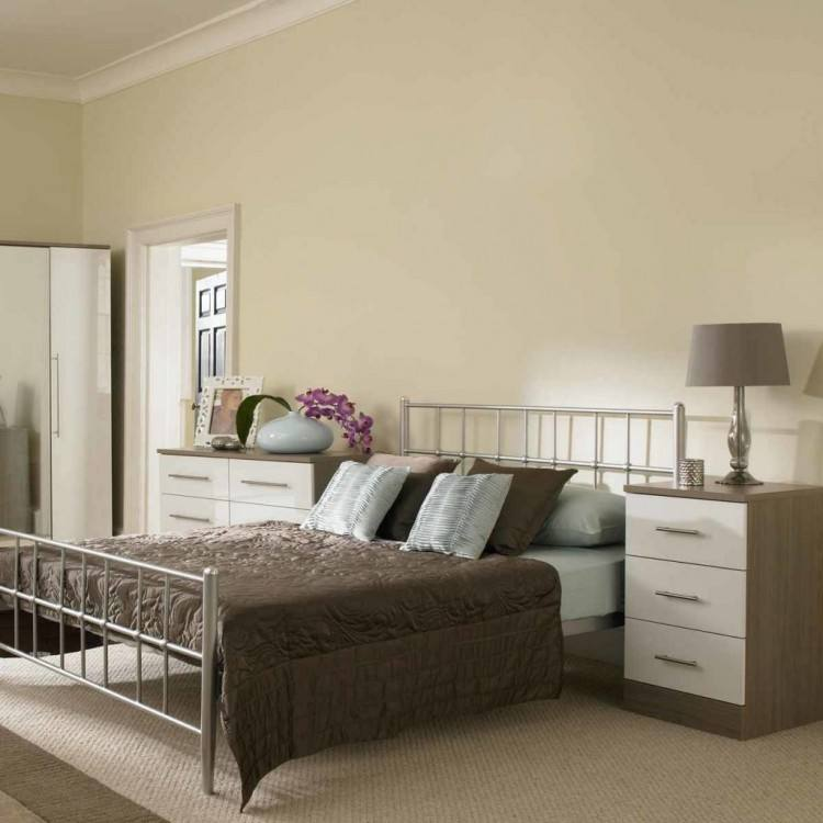 Champagne Avola With Cream Gloss Bedroom Furniture