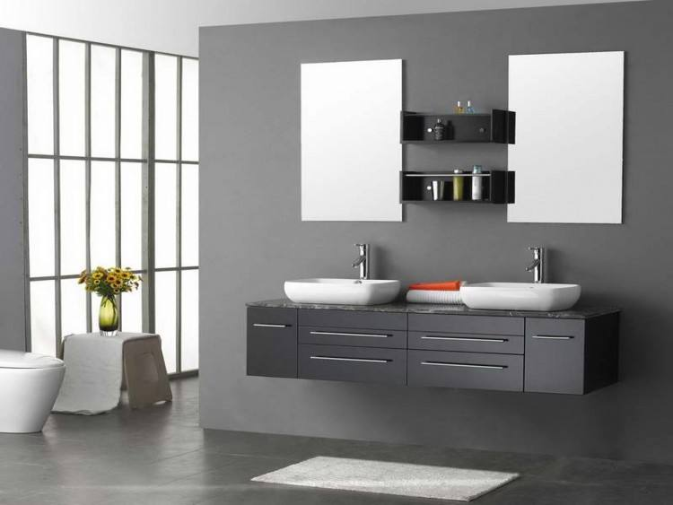 If you have small bathroom you can use bright  shades to give illusion, because they can make your small place to look  larger