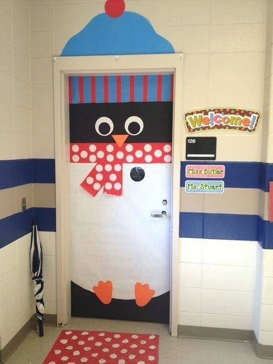 winter wonderland classroom theme for our door at the preschool