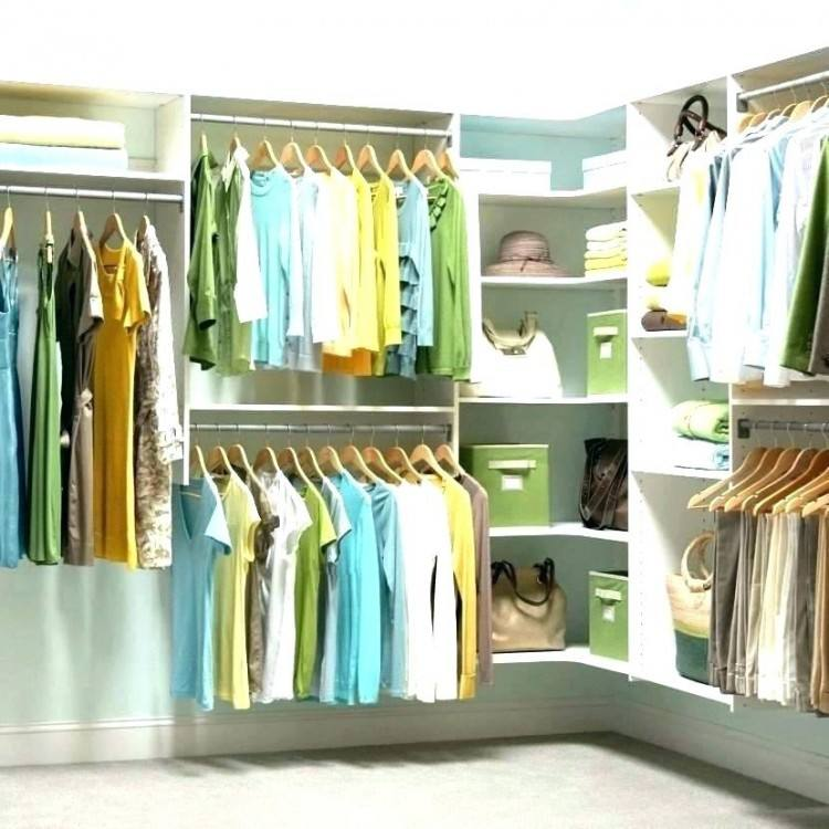 In this closet, clothing rods are adjusted and move to one side of the  closet