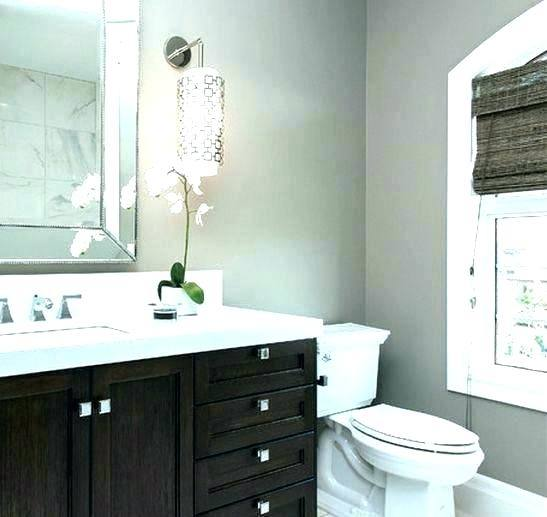 bathroom with grey vanity
