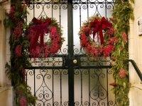 Gate With Christmas Decorations Stock Photo Image Of Door Vines Christmas  Gate