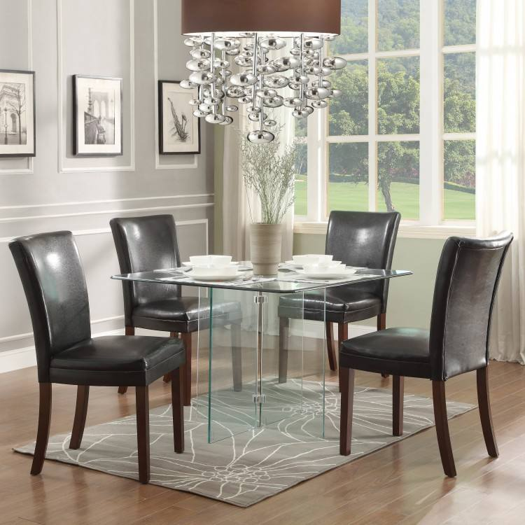 """Modern 40"""" Glass Dining Table in Light"""