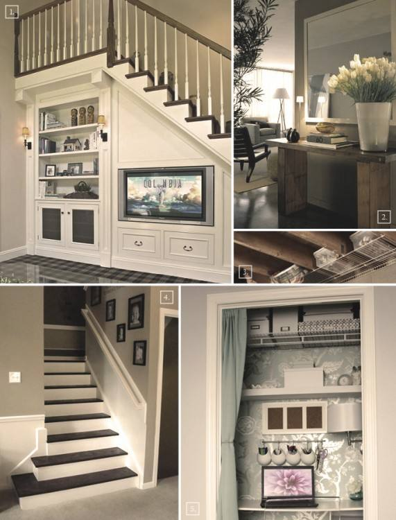 Chick Floating Stair and Lovely Sofa facing Wooden Cupboard in Small  Basement Ideas | Large