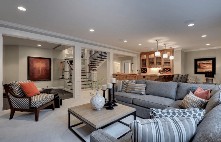 Contemporary Basement by Wentworth, Inc