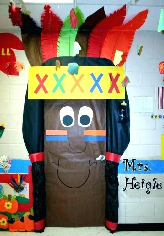 Thankful thanksgiving turkey for the classroom door