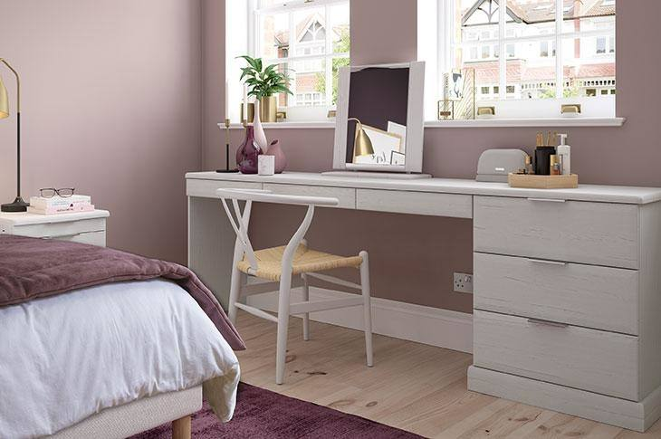 Home Discount White 3 Drawer Dressing Table Makeup Desk Riano Bedroom  Furniture: Amazon