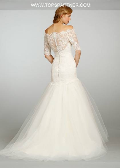 3/4 Sheer Long Sleeve Off The Shoulder Wedding Dresses 2017 Ball Gown Tulle  Lace Appliqued Bridal Gowns Corset Back Elegant Wedding Gowns Wedding Gown
