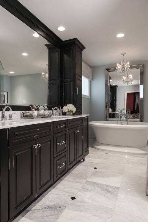 pictures of bathrooms with black cabinets |