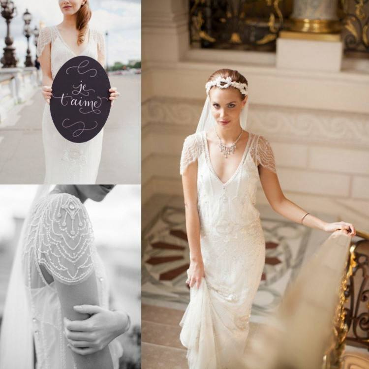 Romantic Casual Style Lace Sheath Wedding Dresses Cap Sleeves Sheer V Neck  Sweep Train Beaded SEQUINS Sexy Bodice Bohemian Bridal Gowns Wedding Dresses