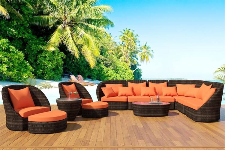 7pcs El Patio Brown Frame with ORANGE Outdoor Patio Furniture Set  Aluminum Frame