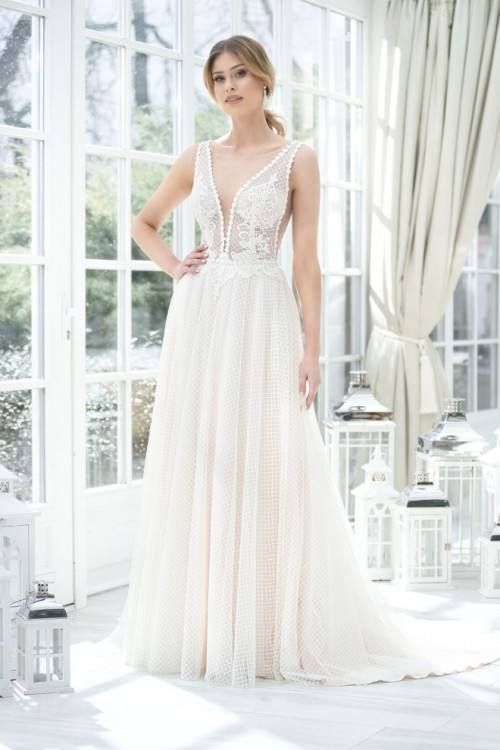 Grecian chiffon and lace by Agnes · Agnes Bridal