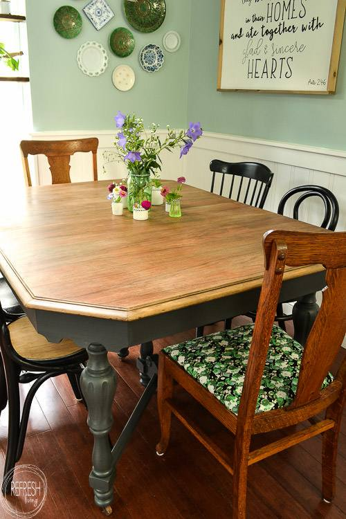 How To Paint A Dining Room Table Black Chalk Paint Dining Room Tables  Refinish Dining Room Table Veneer Top Painting Dining Room Table Best Spray  Paint