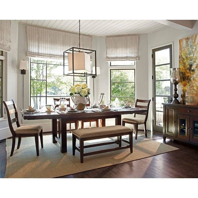 Esmarina Walnut Brown Rectangular Dining Table w/6 Chairs