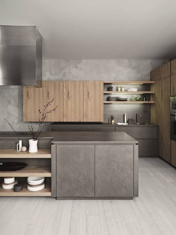 Rustic Stone Kitchen Floating White Cabinet Mirror Door Dark Red Gloss  Cabinets Wall Stainless Oven White Modern Stove Near Wooden Table Beautiful  Floor