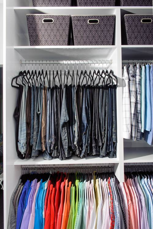Voxsartoria's ties in drawers Bold walk in closet with lots of space
