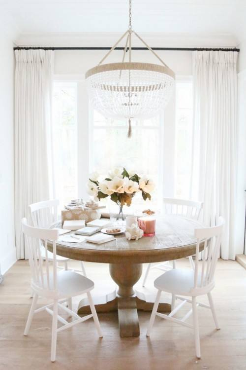 black salvaged wood dining table, Restoration Hardware Salvaged Wood  Trestle Rectangular Extension Dining Table, lined with black and white  French round