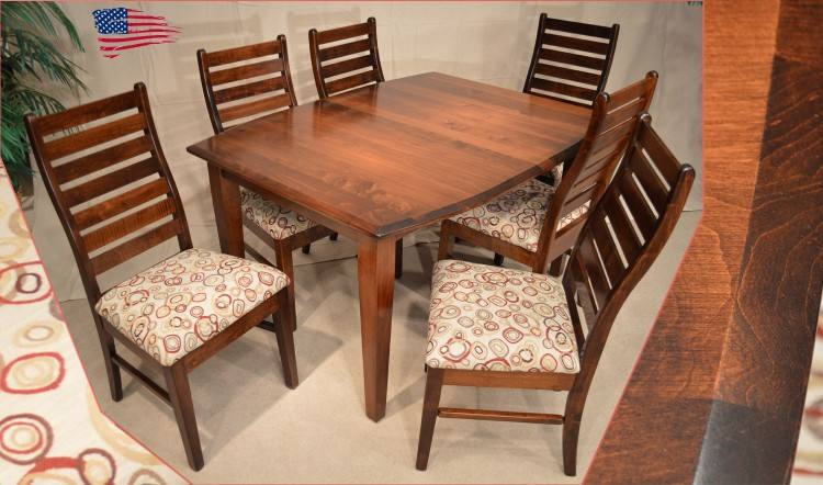 Albany Dining Collection features a Sawmill Rustic Cherry top with a Brown  Maple base in a Country White paint with a Soft Glaze